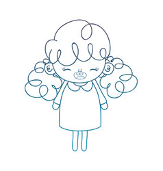 Degraded outline happy girl with dress and curly vector