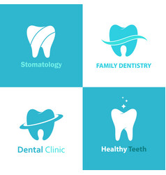Dental clinic logo set vector