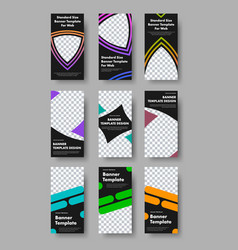 Design vertical web banners with black vector
