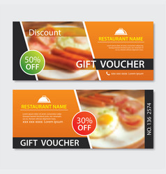 Discount voucher breakfast template design set of vector
