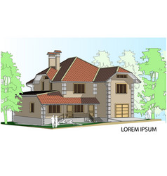 drawing of a house in the future the house vector image
