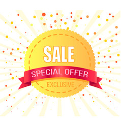 exclusive sale special offer round golden label vector image