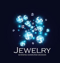falling diamonds gems shining jewelry background vector image
