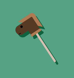 Flat icon design collection stick horse toy in vector
