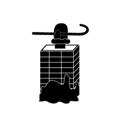 Flat icon in black and white style chimney santa vector