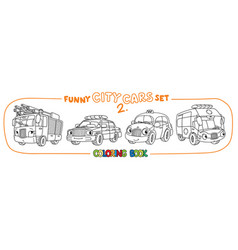 funny small cars with eyes coloring book set vector image