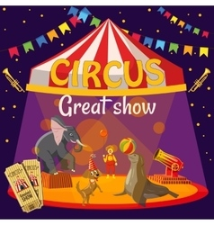 Great circus show concept cartoon style vector