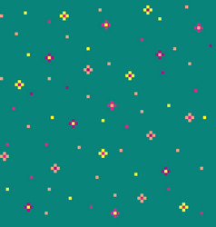 Green 8-bit abstract background with cute flowers vector