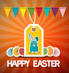 Happy Easter Retro Card with Bunny - Flags and vector image