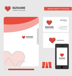 heart beat business logo file cover visiting card vector image