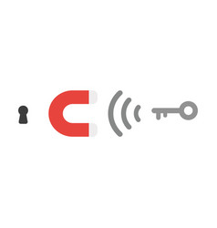 icon concept of magnet attracting key to keyhole vector image
