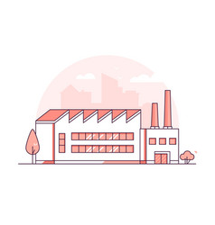 Industrial building - modern thin line design vector