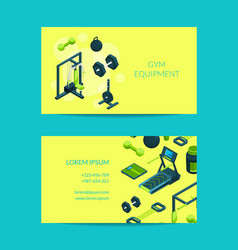 isometric gym objects for gym vector image