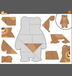Jigsaw puzzle game with bear vector
