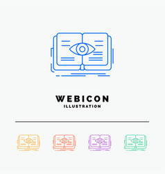 knowledge book eye view growth 5 color line web vector image
