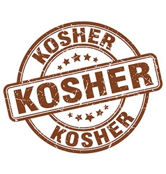 Kosher brown grunge round vintage rubber stamp vector