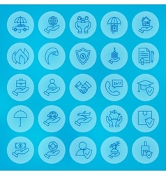 Line Circle Business Insurance Icons Set vector image