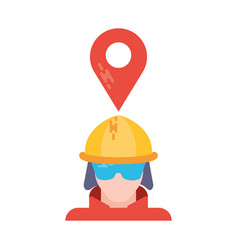 man with safety helmet and tag on white background vector image