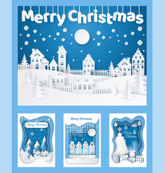 merry christmas paper cut silhouettes cards set vector image