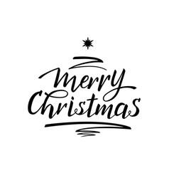 merry christmas tree handwritten lettering vector image