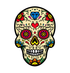 mexican sugar skull isolated on white background vector image