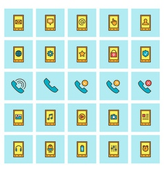 Mobile phone and communications icon set in flat vector