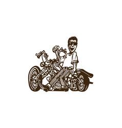 Motorcycle and man cartoon vector