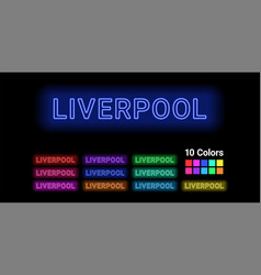 Neon name of liverpool city vector