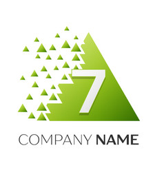 number seven symbol in colorful triangle vector image