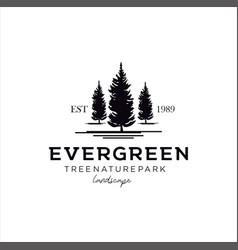 Pine evergreen tree vintage retro hipster logo des vector