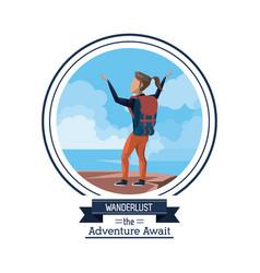 Poster color wanderlust adventure await vector