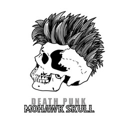 Punk human skull with mohawk hair style vector
