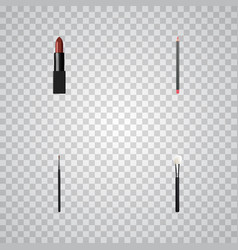 realistic mouth pen powder blush pomade and vector image