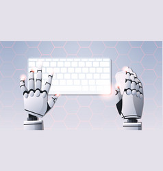 robot hands holding mouse using computer keyboard vector image