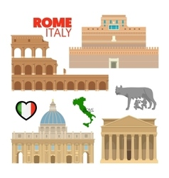 Rome Italy Travel Doodle with Architecture vector
