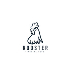 Rooster black and white logo template design vector