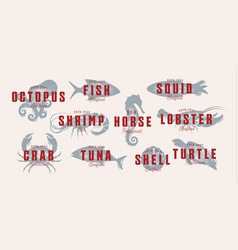 seafood vintage logo set sea creatures fishing vector image