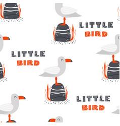seagull scandinavian pattern vector image