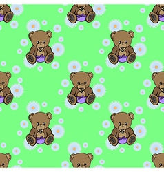 Seamless baby bear pattern vector