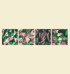 seamless exotic patterns with tropical plants vector image