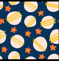 seamless pattern flowers and dots bold vector image