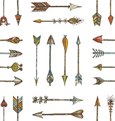 Seamless pattern of ethnic arrows vector