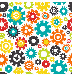 seamless pattern with colorful gears vector image