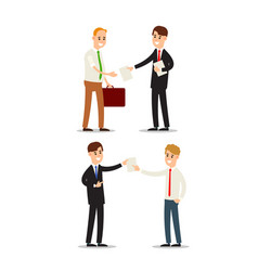 set businessman documents meeting of two vector image