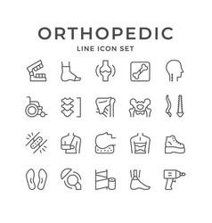 set line icons orthopedics vector image