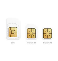 set mobile sim card types cellular phone card vector image