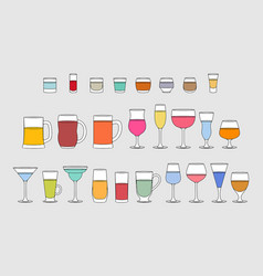 set of alcoholic drinks glasses vector image