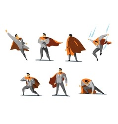 set of businessman Superhero actions different vector image