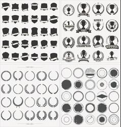 set of empty retro vintage frames laurels badges vector image