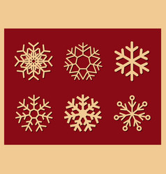 set of icons snowflakes on red background vector image